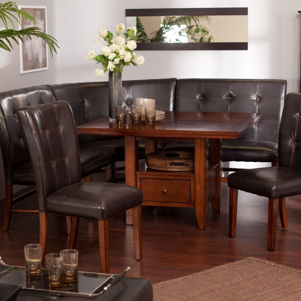 Rustic Nook Dining Set 6 Pc Country Leather Table Booth Bench