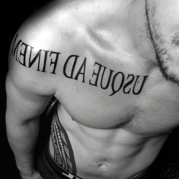 60 Latin Tattoos For Men Ancient Rome Language Design Ideas In 2020 Latin Tattoo Tattoos For Guys Chest Tattoo Men