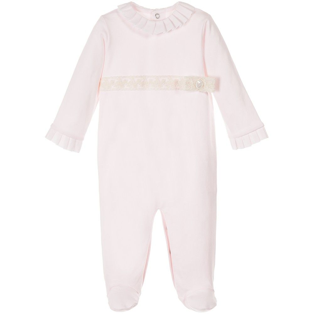 1391d99e920 Girls Pink Babygrow with Ivory Lace