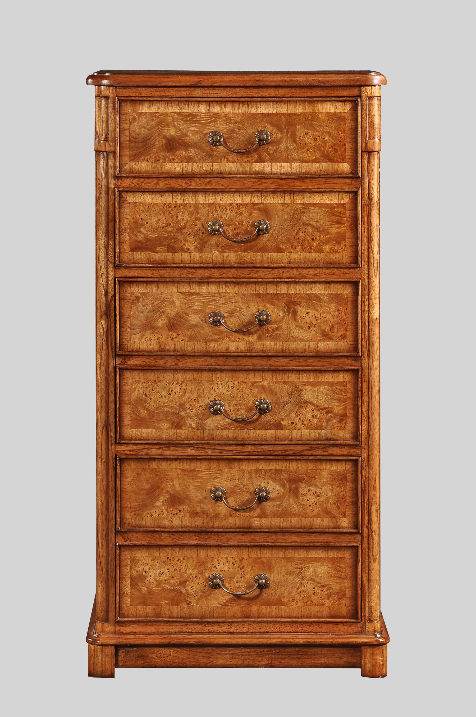Hampton 3 Drawer Filing Cabinet which is handcrafted from solid mindi wood with burr walnut veneers. It features 3 filing drawers which are finished with antiqued brass handles. Available from Lock Stock and Barrel Furniture.