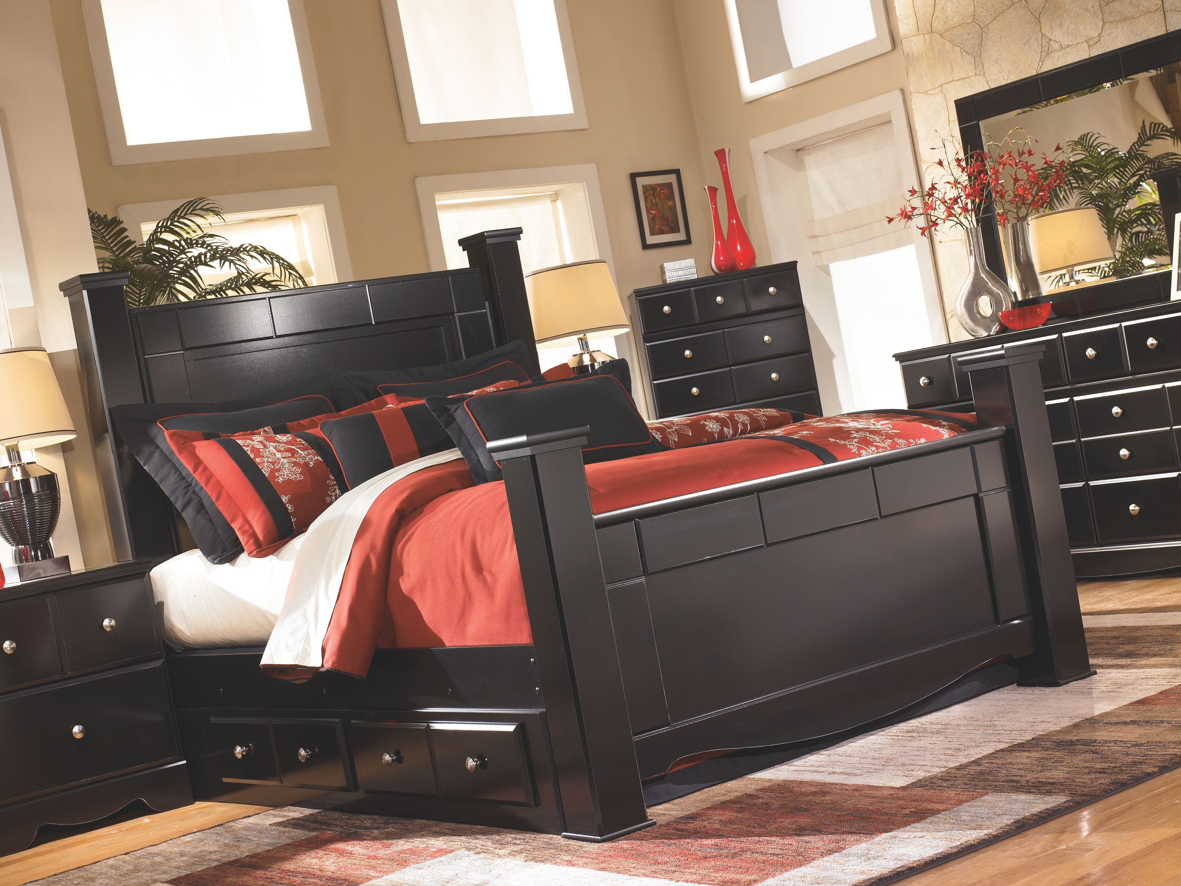 Shay King Poster Bed With 2 Storage Drawers Ashley Furniture Homestore In 2021 Furniture Ashley Bedroom Furniture Sets Black Bedroom Furniture