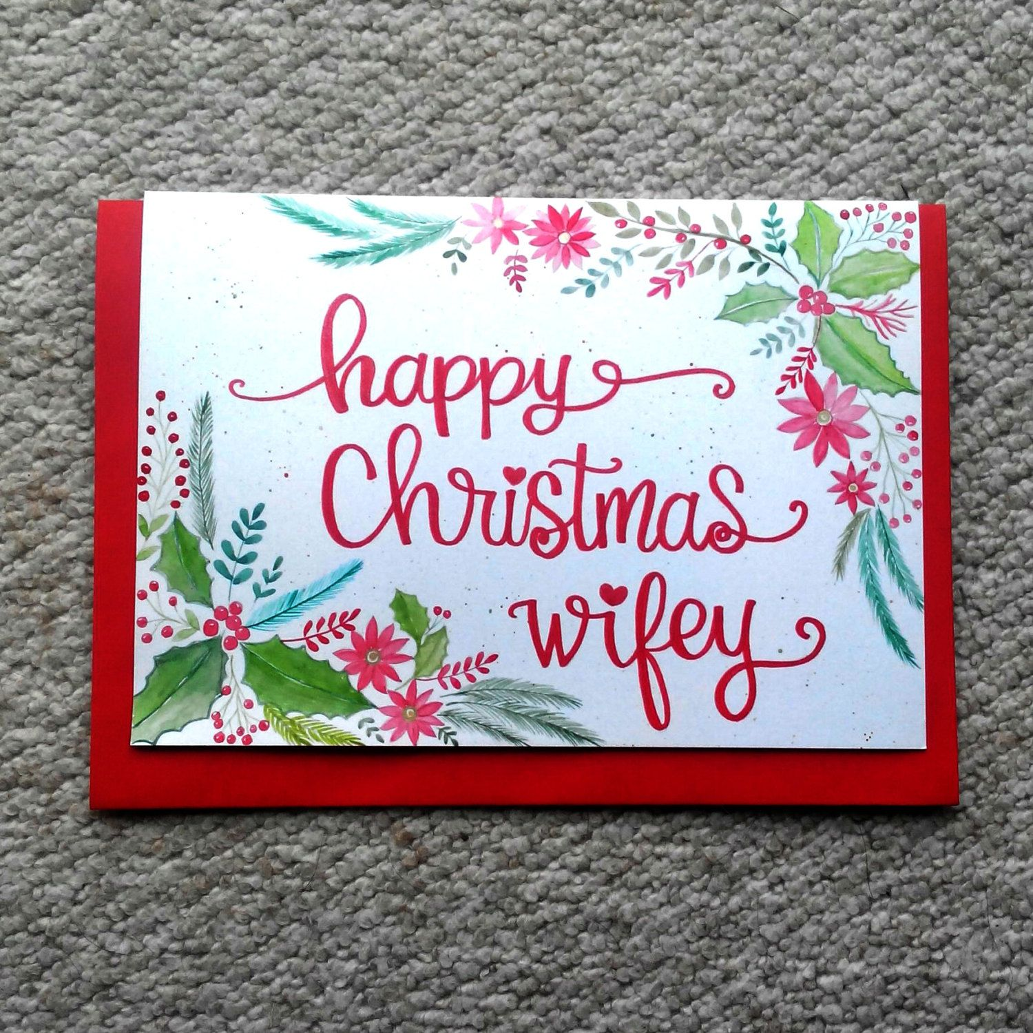Happy christmas wifey personalized christmas card handmade happy christmas wifey personalized christmas card handmade christmas card watercolour christmas card kristyandbryce Choice Image