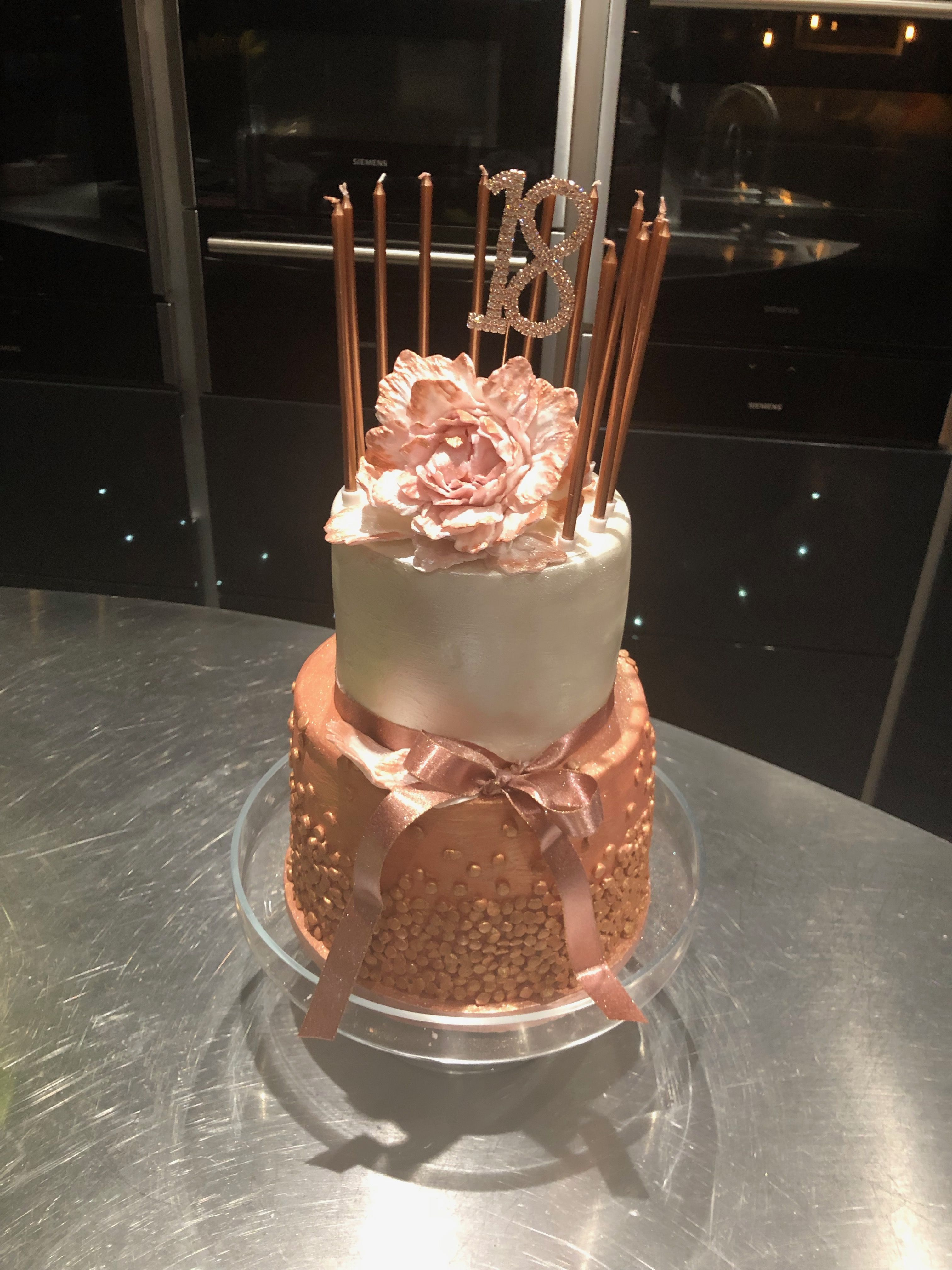 Girls 18th Birthday Cake Bottom Tier Painted With Rose Gold