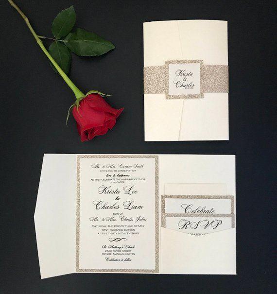 Formal Gold Wedding Invitation Pocket Invitations