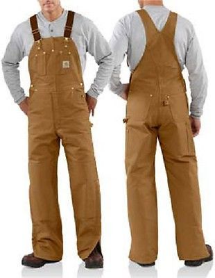 carhartt men s r02 brn duck bib overall quilt lined size on cheap insulated coveralls for men id=65035