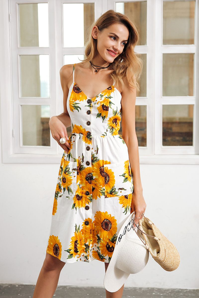 973b0e3ff Sunflower Print Summer Dress in 2019 | Fashion // Dresses & Skirts ...