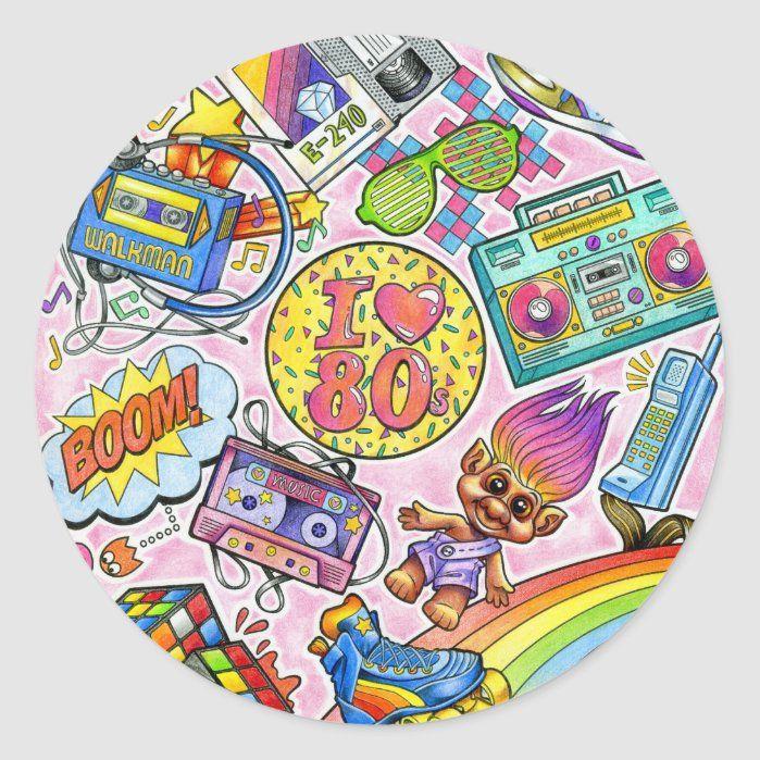 I love the 80s 1980s Swag Classic Round Sticker Zazzle