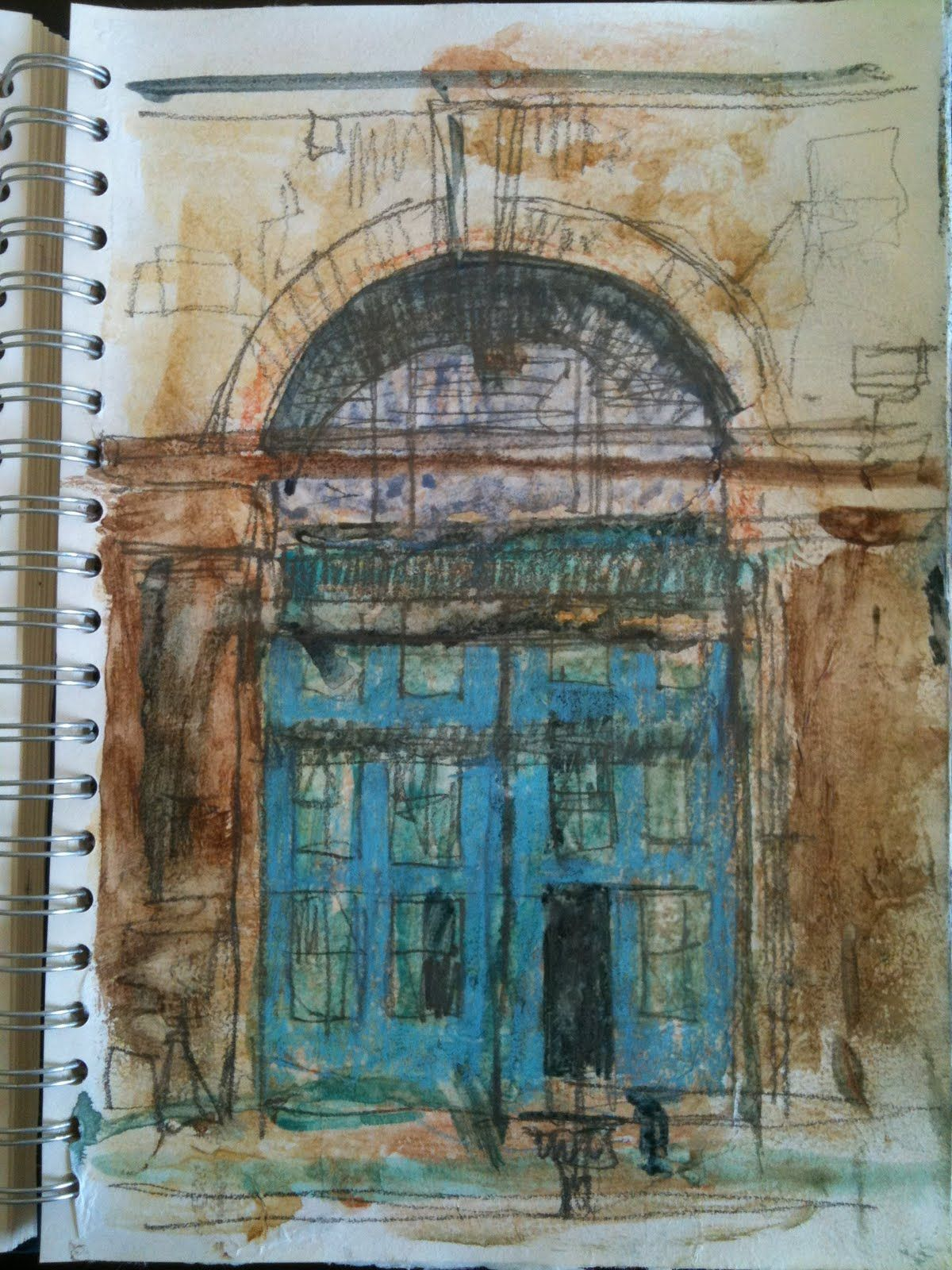 Door pencil drawing -  Urbansketch Blue Door Pencil Pen And Watercolor Sketch By Angus Mcewan