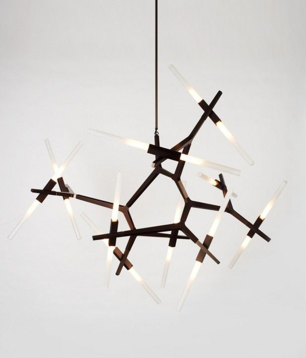 Agnes 20-bulb chandelier by Lindsey Adams Adelman for Roll & Hill. Machine aluminum & glass.