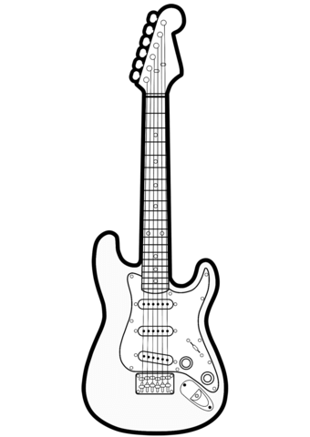 Electric Guitar Coloring Page Guitar Guitar Outline Electric Guitar