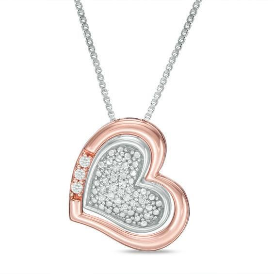 Zales 1/6 CT. T.w. Composite Diamond Heart Frame Pendant in Sterling Silver and 10K Rose Gold Y44kG0r