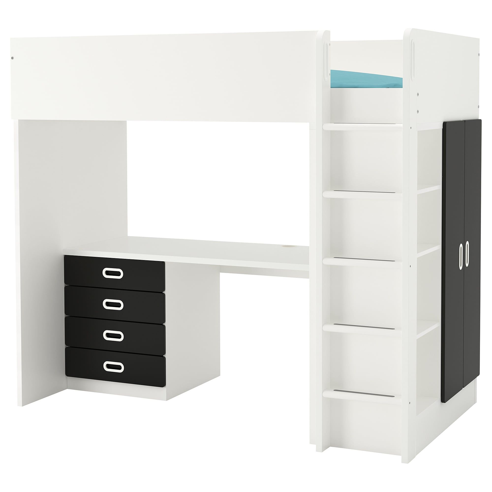 Scrivania Con Cassettiera Ikea stuva / fritids letto soppalco/4 cassetti/2 ante - bianco