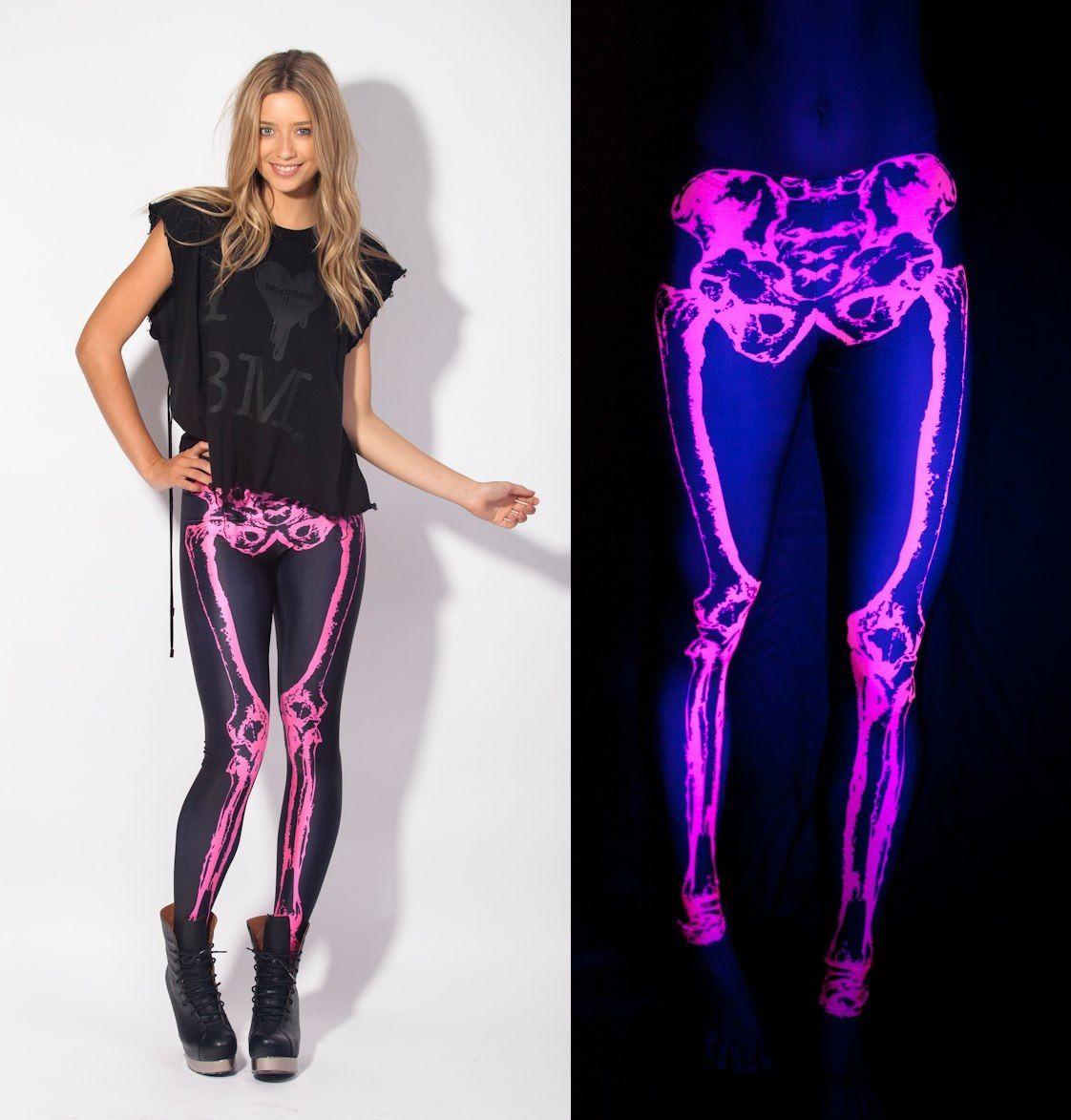 BlackMilk neon pink skeleton leggings