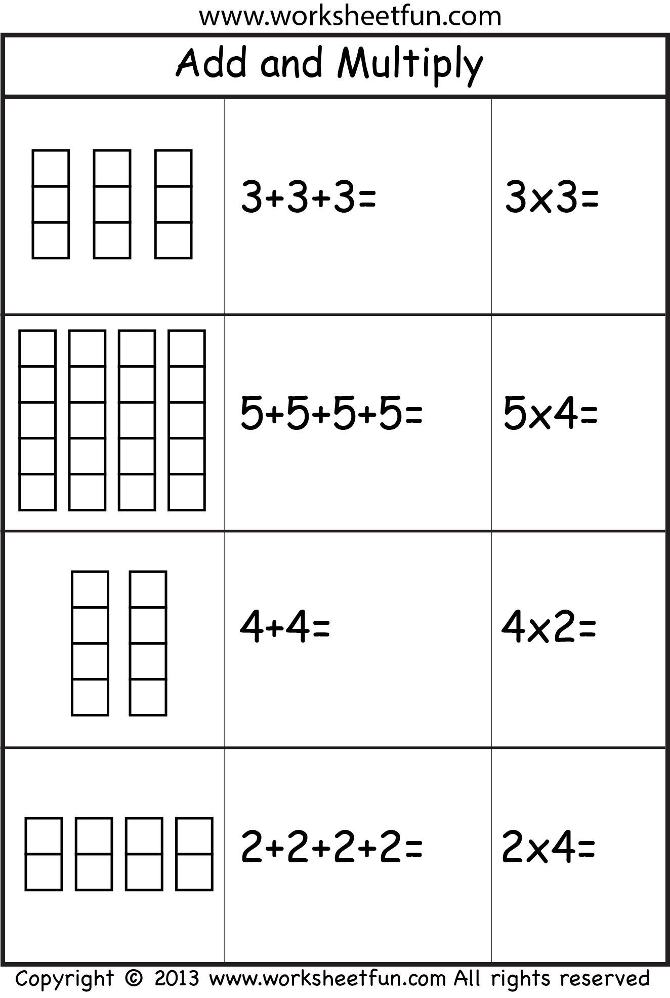 Multiplication Worksheets ⋆ coloring.rocks!   Repeated addition worksheets [ 1971 x 1324 Pixel ]