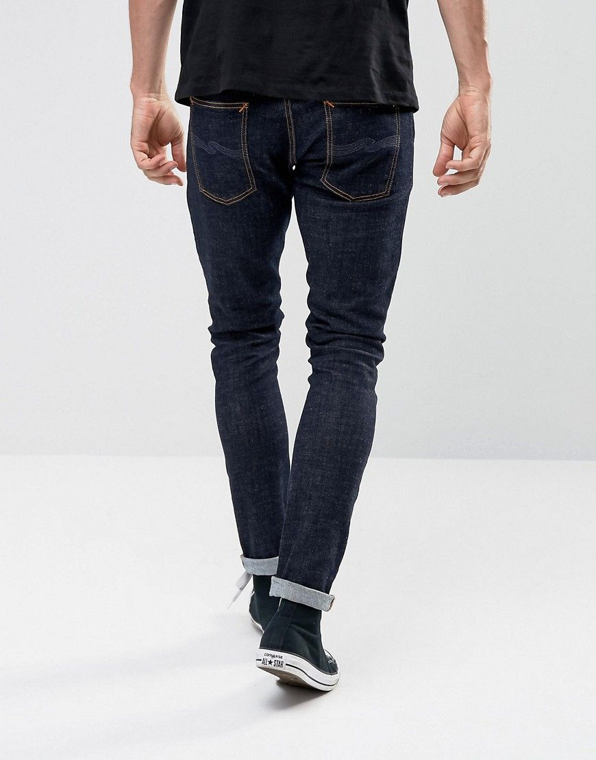 Nudie Jeans Co Tight Terry Super Skinny Jean Rinse Twill Wash - Navy