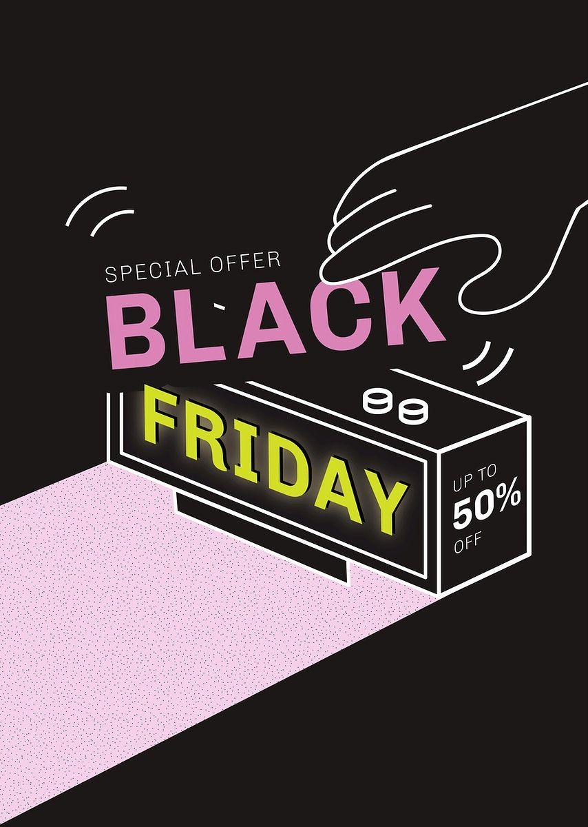 Download Premium Vector Of Black Friday Vector 50 Off Digital Clock Black Friday Black Friday Thanksgiving Black Friday Christmas