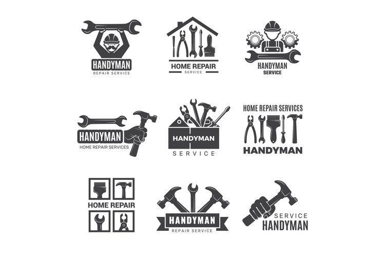 Handyman Logo Worker With Equipment Servicing Badges Screwd 1235482 Illustrations Design Bundles In 2021 Handyman Logo Construction Logo Maintenance Logo