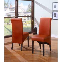 Sleigh Back Orange Parsons Chair Set Of 2