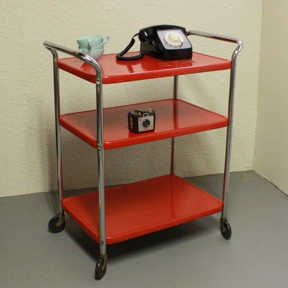 Vintage Metal Cart Serving Kitchen By Moxiethrift
