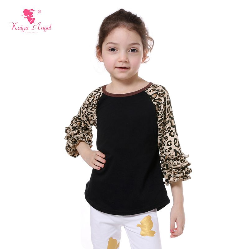 05ab86f638cee Find More Tees Information about 2017 Ruffle Cheetah Raglan Spring ...