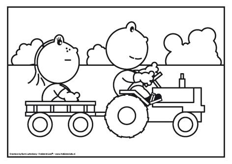 frokkie en lola op de tractor maken of doen met kinderen
