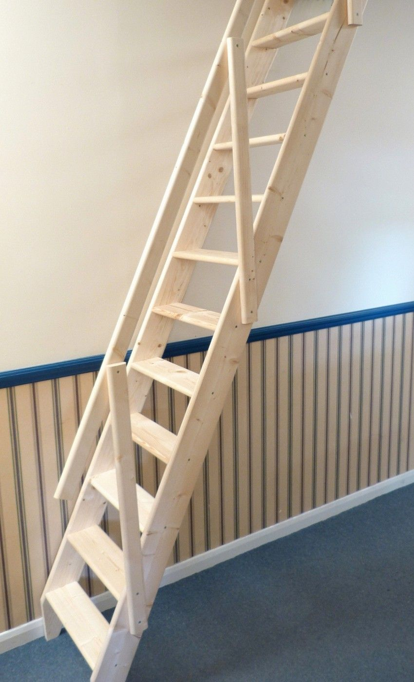 Inspiring Space Saving Loft Staircase With Ladder Staircase Construction By  Tread, Newel, Stringer, And Handrail From Oak Wood Without Balusters  Integrated ...