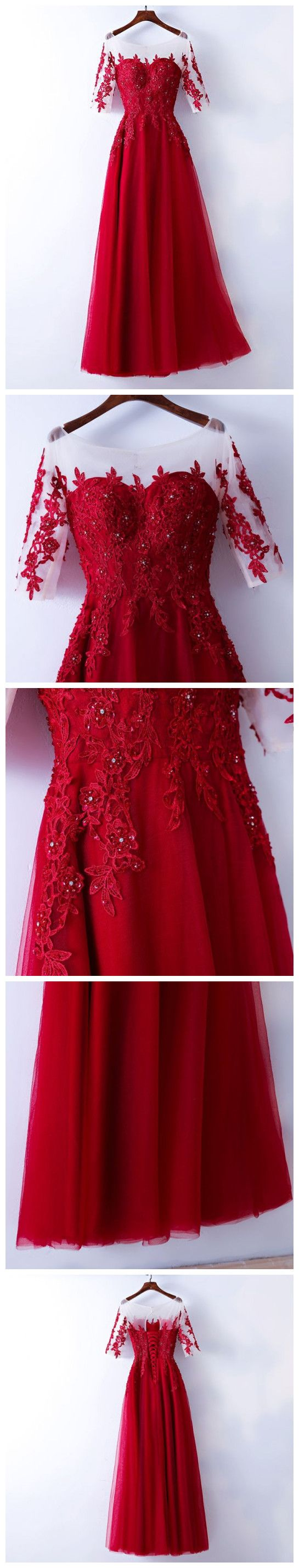 Red prom dress with sleevesprom dressesevening gown graduation