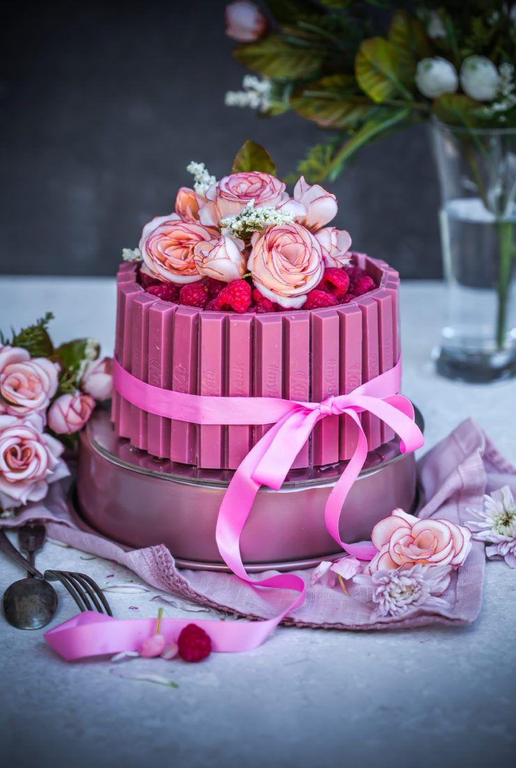 Eggless Pink Kitkat Cake Bolo Kit Kat Bolos Confeitados Kit Kat