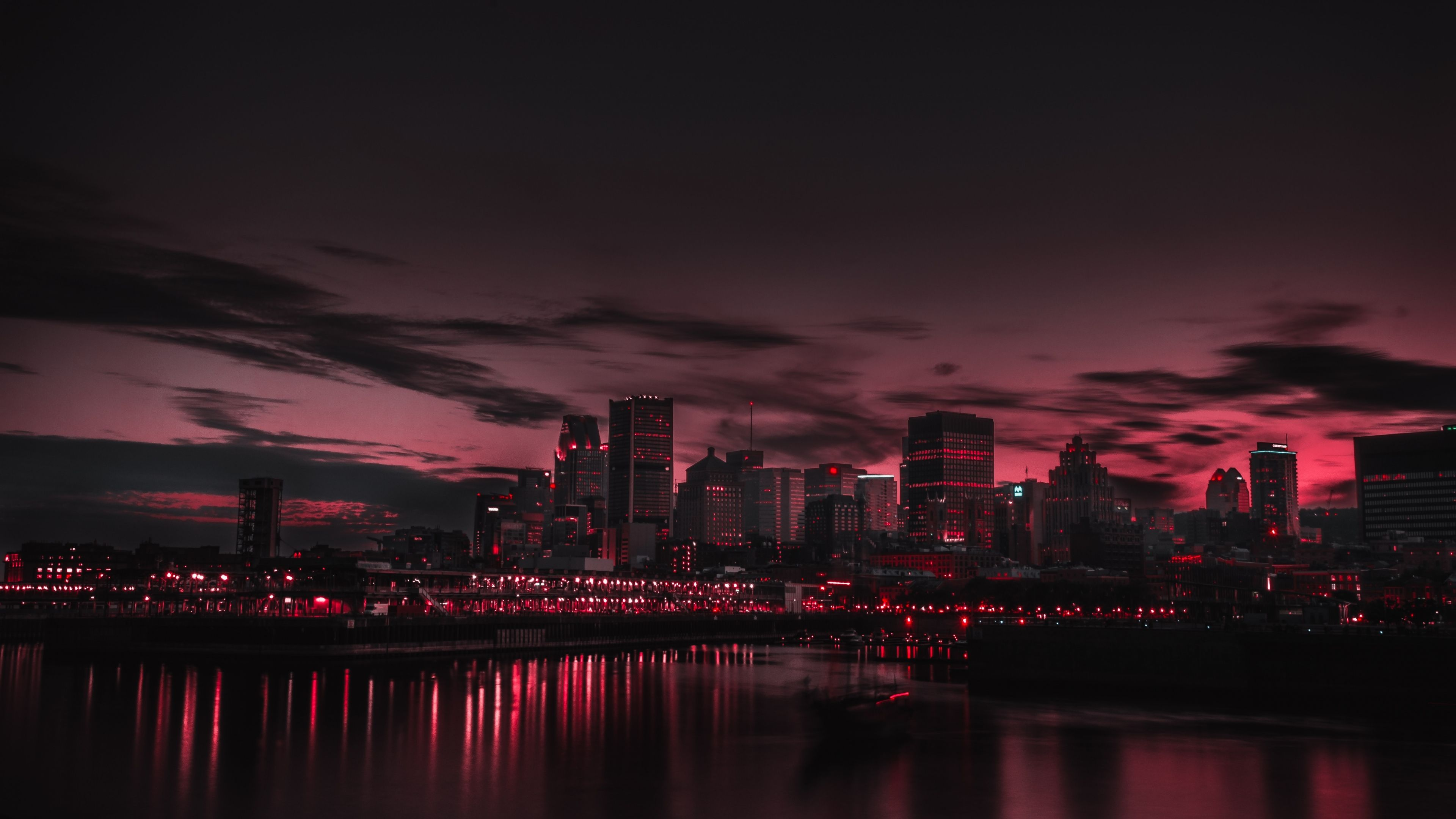 3840x2160 Wallpaper city, night, panorama Aesthetic