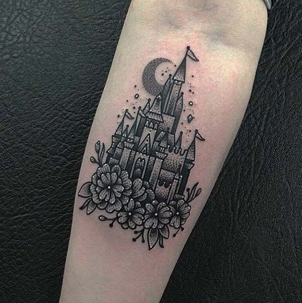 9f19fd64ff918 33 Exquisite Disney Castle Tattoo Designs | Disney tattoos | Castle ...