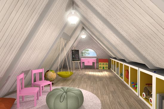 Can't wait to turn the attic into a playroom! With secret entrance of