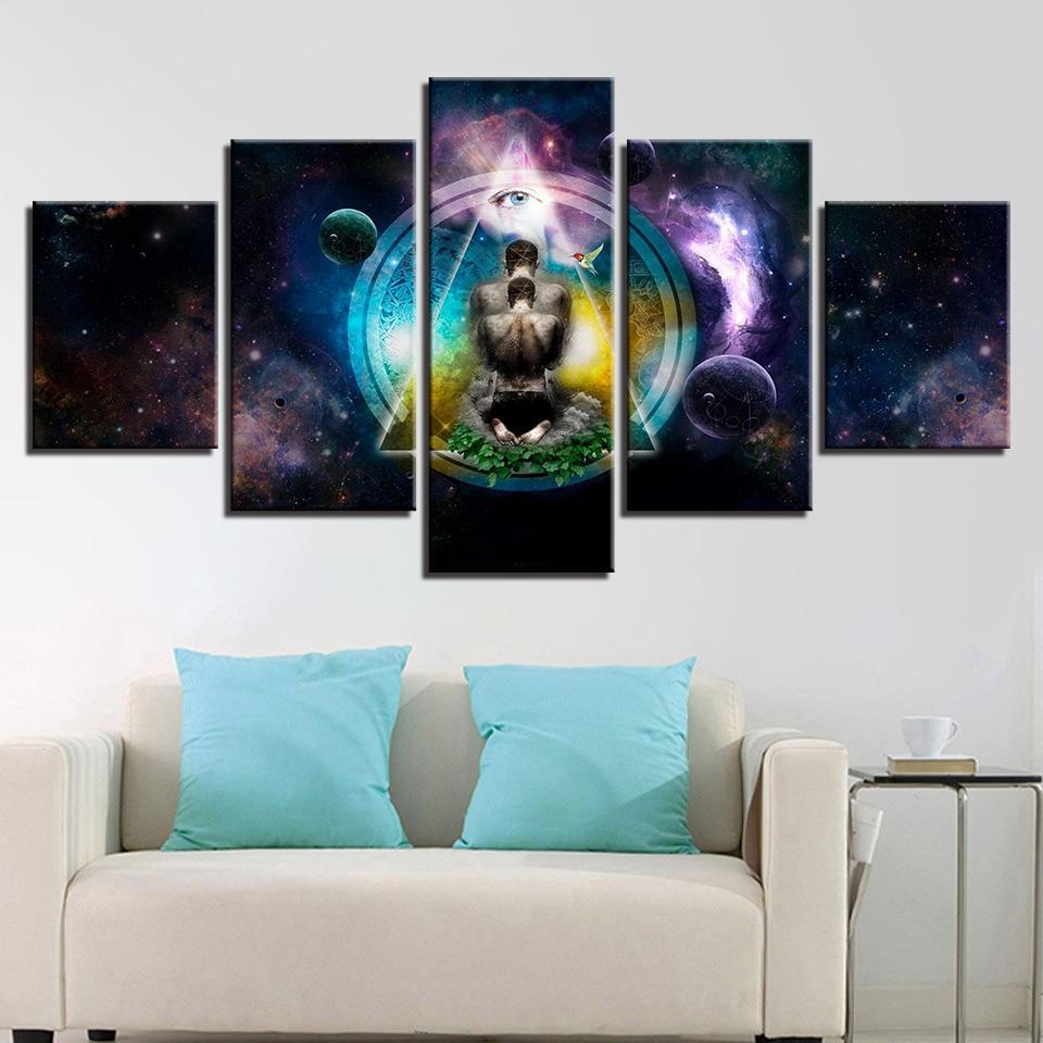 5 panel om yoga symbol poster buddha buddhism abstract