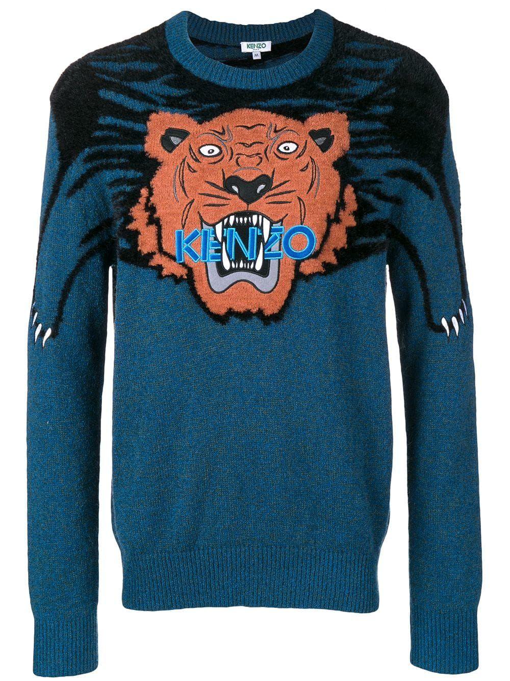 0630a5312 KENZO KENZO LARGE TIGER INTARSIA JUMPER - BLUE. #kenzo #cloth ...