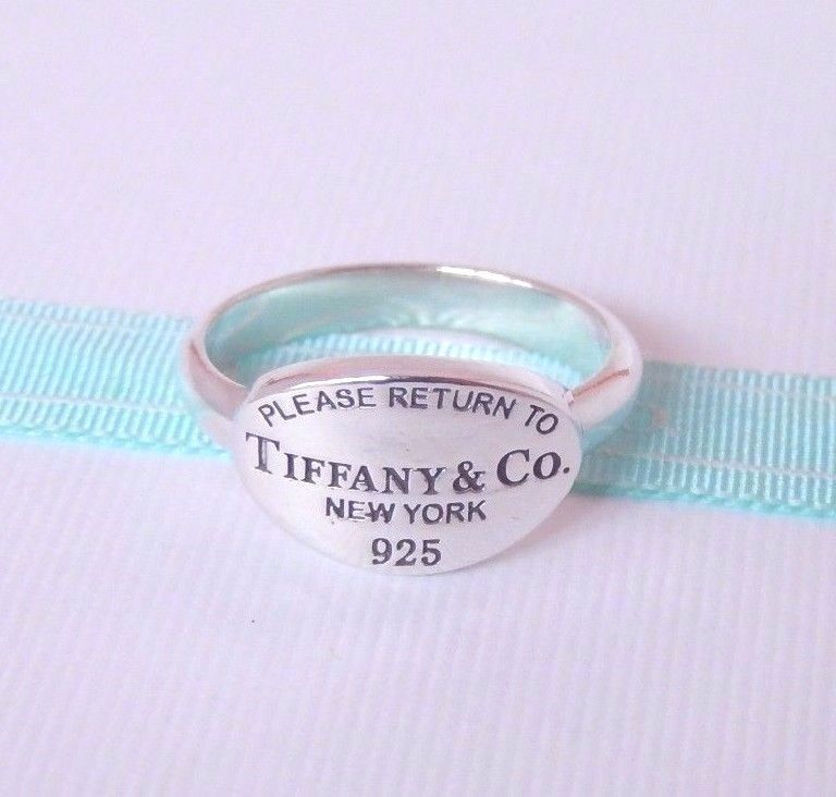 6557e584aeede Tiffany & Co 6 Silver Please Return to Tiffany New York 925 Oval Tag Ring  Band #TiffanyCo #Band