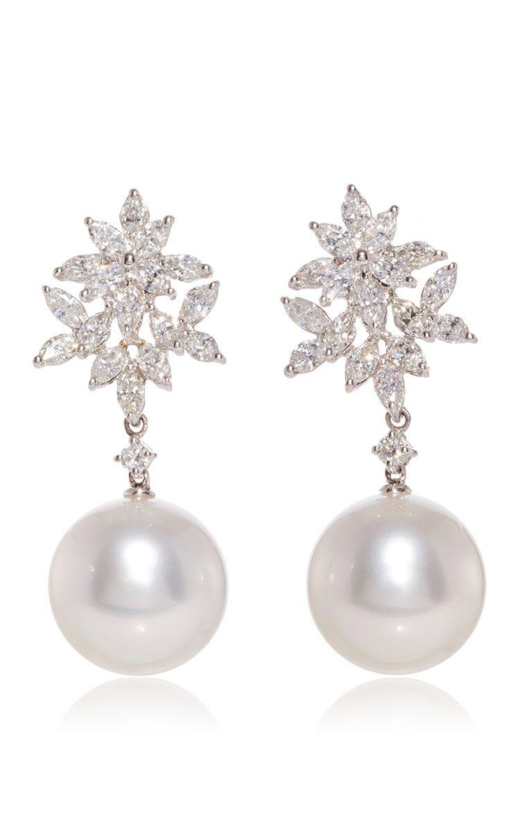 18 K White Gold Cultured Pearl Diamond Earrings by YOKO LONDON for Preorder on Moda Operandi