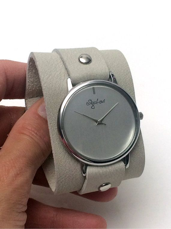 bfb32ce25194a Wide Leather Band Watch- Women Watches-Cream Leather Cuff Watch-Womens Watch -Cuff Watches-Wrist Tattoo Cover-Wide Wrist Watch-Watch-Sigal