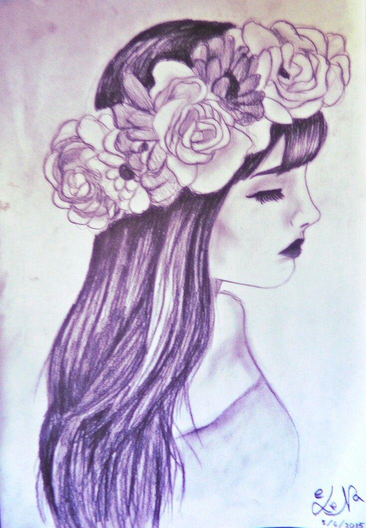 Purple Flower Girl Drawing Purple Flower Girls Purple Flowers
