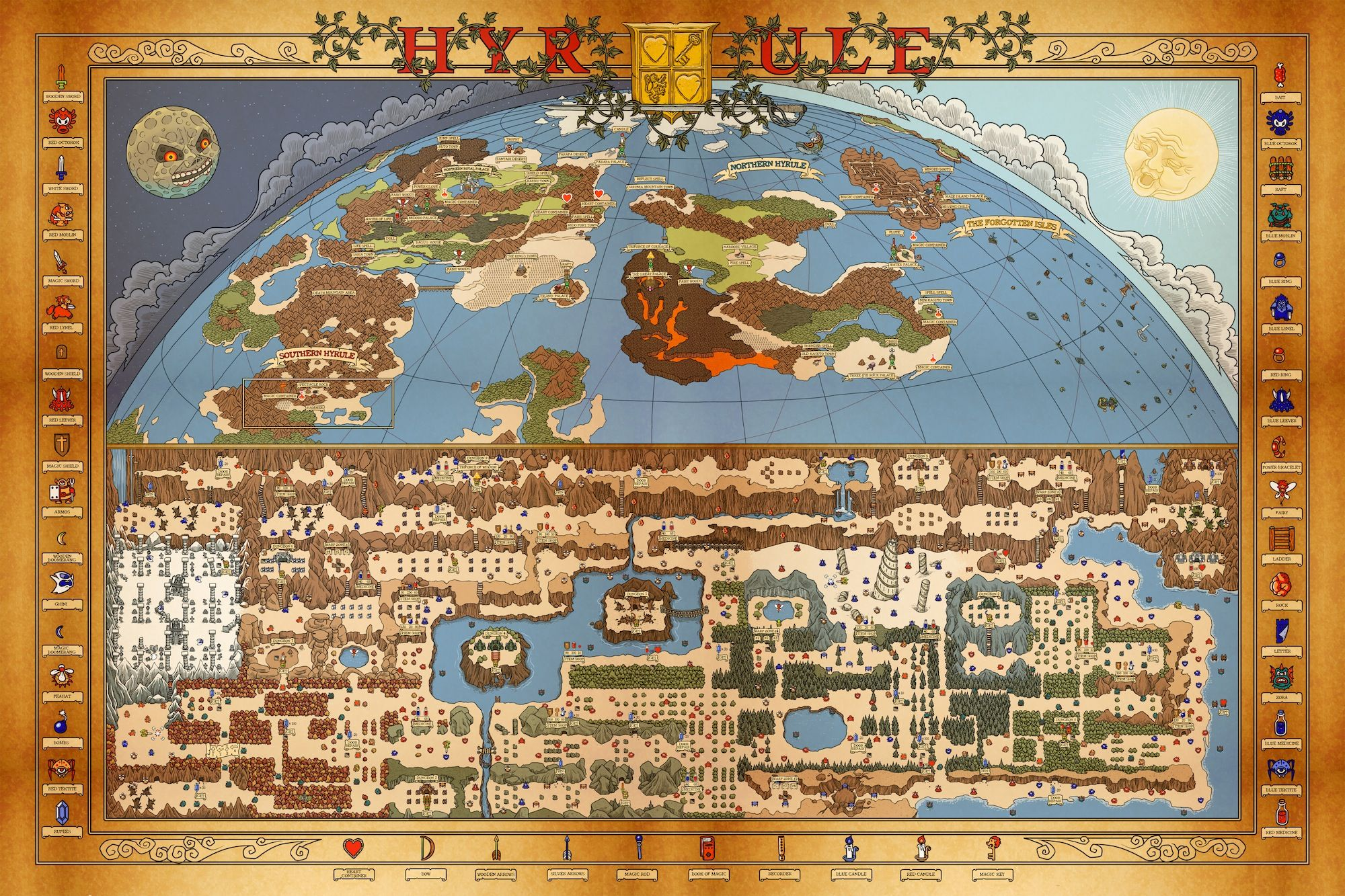 Awesome Hyrule Vintage World Map Zelda Tloz Retro Videogames