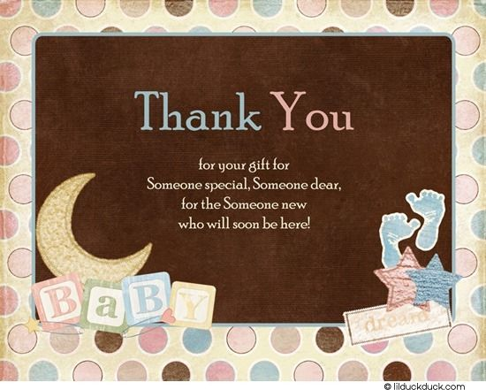 Special Baby Thank You Card  Cute Shower Wording Polka Dots