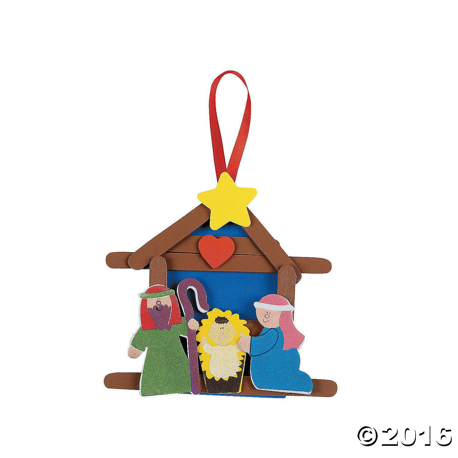 Color Your Own Religious Christmas Ornaments: Nativity Craft Stick Religious Christmas Ornament Craft