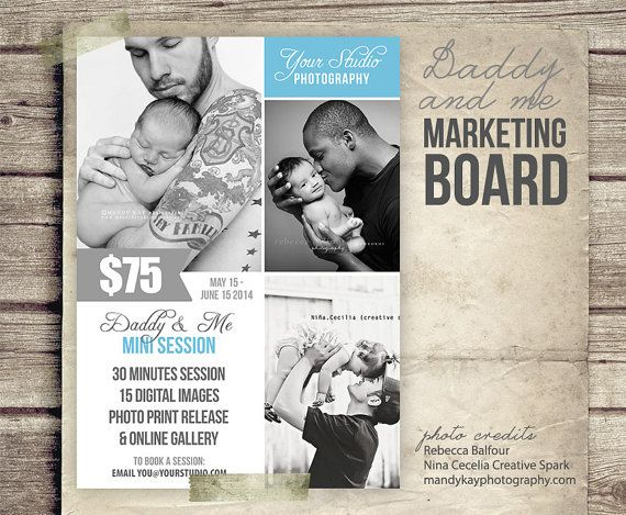daddy and me photography marketing board 5x7 psd newsletter
