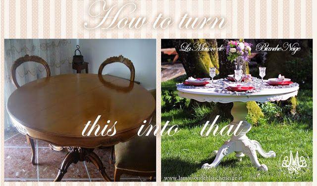 Tavolo Da Pranzo Shabby Chic : La maison de blancheneige recupero di un tavolo da pranzo in