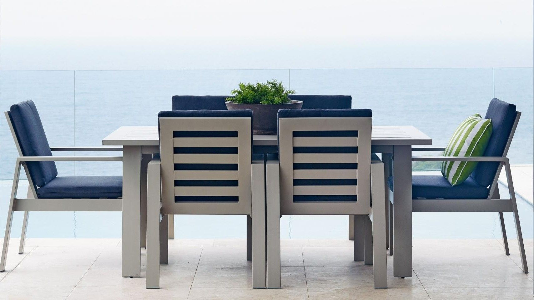 A Sleek And Smooth Design Gives This Macan 7 Piece Outdoor Dinning Setting  A Fresh Look That Is Ideal For Your Outdoor Dining Area. Bold Lines Bring  The ...