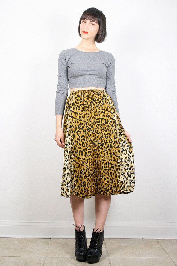 Vintage Skirt Midi Skirt Leopard Print Skirt by ShopTwitchVintage