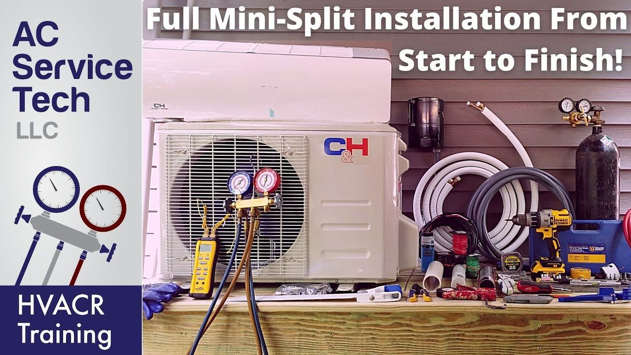 Full Installation Of Mini Split Ductless Unit Step By Step Youtube Ductless Ac Service Tech Installation