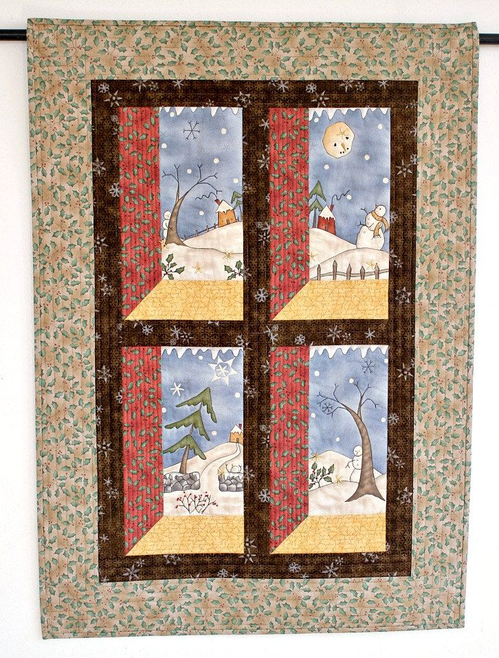 Christmas Wall Hanging Quilted, Winter Wall Quilt, Snowman, Attic ... : handmade christmas quilts - Adamdwight.com