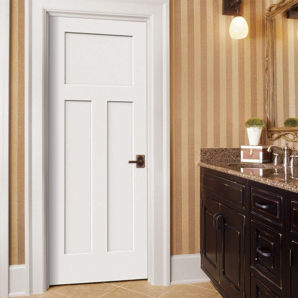 Mission style door hardware - Molded Smooth 3 Panel Craftsman Primed White Solid Core Composite Interior Door Slab