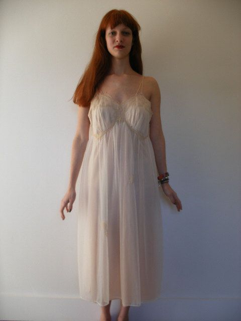60S Nude Negligee Nightgown, Mad Men Era Baby Pink Nylon -7106