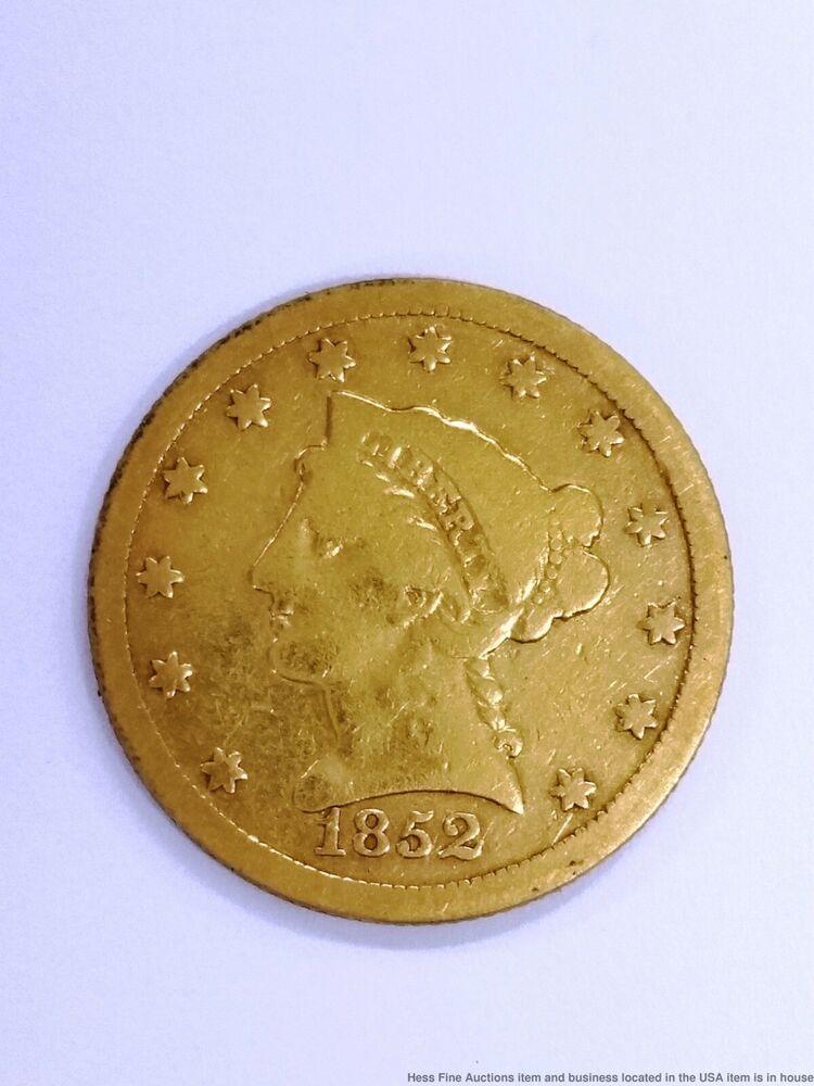 1852 Liberty Head 2 50 Dollar Quarter Eagle American Gold Coin Eagle Coin Coins Gold Coins