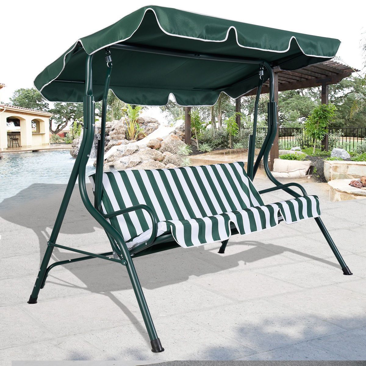 Outdoor Patio Awning Swing Set 2 Seater Green White